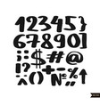 black handwritten numbers vector image