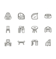 Chairs and tables flat line icons set vector image