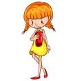Girl drinking vector image