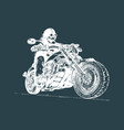 hand drawn skeleton rider on motorcycle vector image