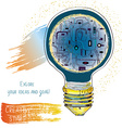 Light bulb technical idea banner for innovation or vector image