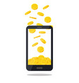 mobile telephone with gold coin pile isolated on vector image