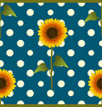 sunflower on yellow polka dots blue teal vector image