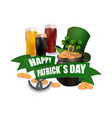 the green hat three kinds of beer pot with coins vector image