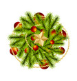 top view realistic christmas branch pine tree vector image