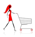 Woman with shopping cart for your design vector image