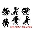 Animals heraldic emblems silhouette icons vector image