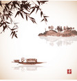bamboo fishing boat and island with trees vector image