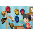 A young boy and his cap collection vector image vector image