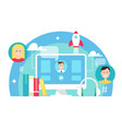 Blended learning and e-learning education concept vector image