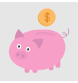 Piggy bank and dollar coin Card vector image