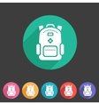 Backpack schoobag rucksack flat icon vector image
