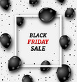 black friday poster with shiny balloons on white vector image