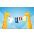 Cartoon giraffes doing laundry vector image