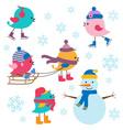 Cute birds winter vector image