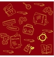 Doodle of school with red backgrounds vector image