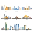 Eastern Cityscapes Landmarks Flat Icons Collection vector image
