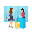 girl prepare for trip railway station tickets vector image