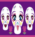 manga skulls vector image