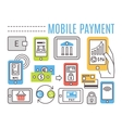 Mobile banking online payments Thin line flat vector image