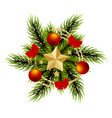 wreath realistic merry christmas branch pine tree vector image