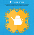 Kettle Icon sign Floral flat design on a blue vector image