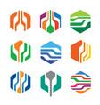 abstract hexa logo template design vector image