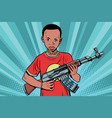 african boy with akm automatic weapons vector image