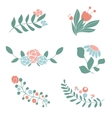 Set of cute floral bouquets and wreaths vector image