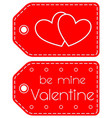 be mine valentine heart circle red tag set vector image