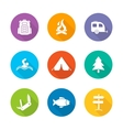 Camping flat design icons set vector image