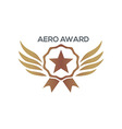 design aero awards star wings icon vector image