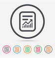 report file icon document page with statistics vector image