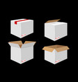 set of four cardboard boxes open and closed white vector image