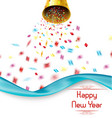 happy new year exploding party bell with confetti vector image