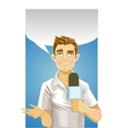 Young reporter men vector image vector image