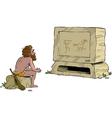 primitive man watching television vector image