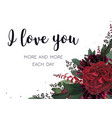 floral greeting valentine card design with flowers vector image