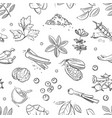 fresh herbs and spices doodle hand drawn vector image