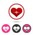 heart pulse set logo red icon art vector image