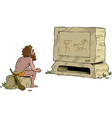primitive man watching television vector image