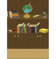 Cabinet in the library with books and globe vector image vector image