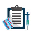 clipboard medicine check medicatons and syringe vector image