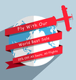 Globe and plane modern design template vector image