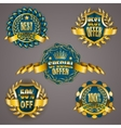 Golden badges with laurel wreath vector image