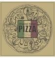 Ink hand drawn pizza package box template vector image