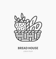 bread basket with loaf baguette and ears of wheat vector image