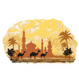camel trip with mosque background vector image