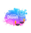 watercolor background for happy diwali festival vector image