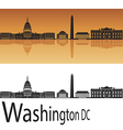Washington DC skyline in orange background vector image
